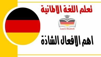 اهم الافعال الشاذة مع امثلة لكل فعل في اللغة الالمانية