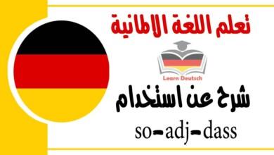 شرح عناستخدام so-adj-dass في اللغة الالمانية