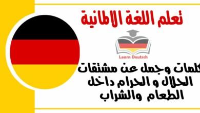 كلمات وجمل عن مشتقات الحلال و الحرام داخل الطعام والشراب في اللغة الالمانية