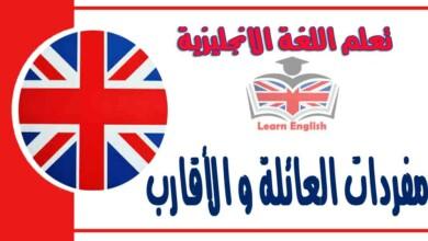 مفردات العائلة و الأقارب في اللغة الانجليزية