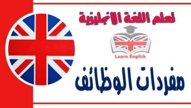 مفردات الوظائف في اللغة الانجليزية