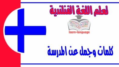 كلمات وجمل عن المدرسة في اللغة الفنلندية