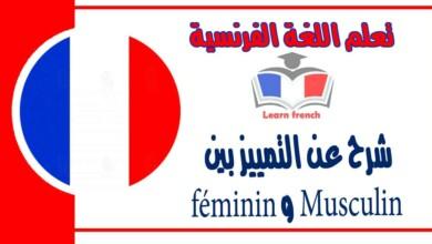 شرح عن التمييزبين Musculin و féminin في اللغة الفرنسية