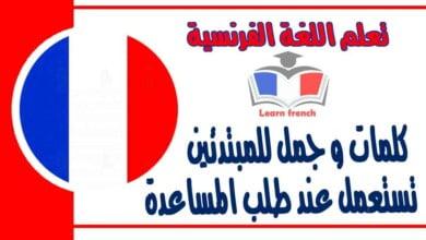 كلمات و جمل للمبتدئين تستعمل عند طلب المساعدة في تعلم اللغة الفرنسية