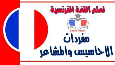 مفردات ﺍﻻﺣﺎﺳﻴﺲ ﻭ ﺍﻟﻤﺸﺎﻋﺮ في اللغة الفرنسية