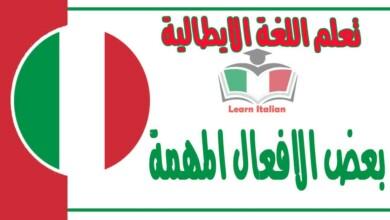بعض الافعال المهمة في اللغة الإيطالية