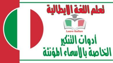 أدوات التنكير الخاصة بالأسماء المؤنثة في اللغة الايطالية