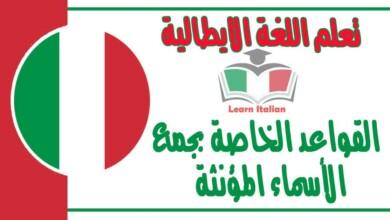 القواعد الخاصة بجمع الأسماء المؤنثة في اللغة الايطالية
