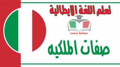 صفات الملكيه في اللغة الايطالية
