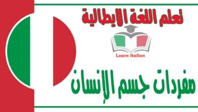 مفردات جسم الإنسان في اللغة الايطالية