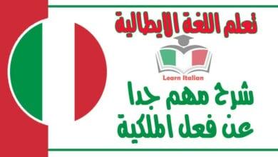شرح مهم جدا عن فعل الملكية في اللغة الايطالية