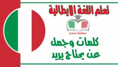 كلمات وجمل عنيحتاج يريد في اللغة الايطالية