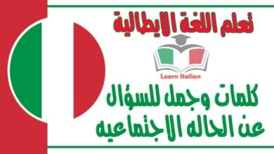 كلمات وجمل للسؤال عن الحاله الاجتماعيه في اللغة الايطالية