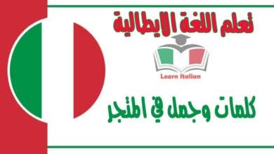 كلمات وجمل في المتجر في اللغة الايطالية