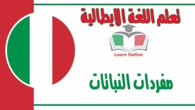 مفردات النباتات في اللغة الايطالية