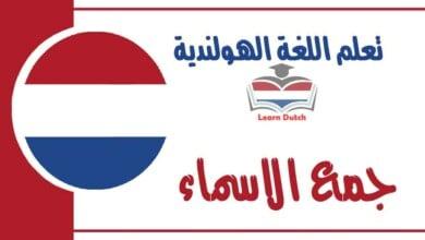جمع الاسماء في اللغة الهولندية
