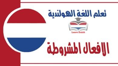 الافعال المشروطة في اللغة الهولندية