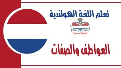 العواطف والصفات في اللغة الهولندية