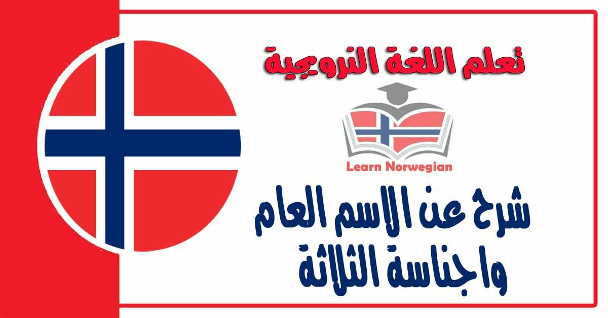 شرح عن الاسم العام واجناسة الثلاثة في اللغة النرويجية