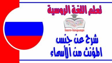 شرح عنجنس المؤنث من الأسماء في اللغة الروسية