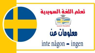 معلومات عن inte någon - ingen في اللغة السويدية