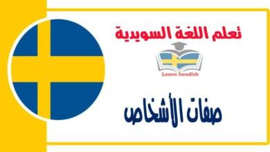 صفات الأشخاص في اللغة السويدية