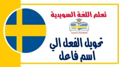 تحويل الفعل الي اسم فاعل في اللغة السويدية