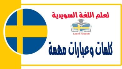 كلمات وعبارات مهمة في اللغة السويدية