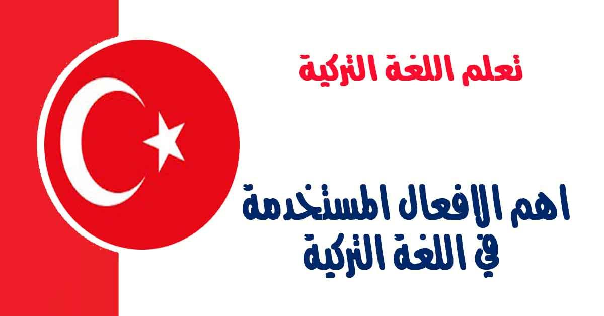 اهم الافعال المستخدمة في اللغة التركية